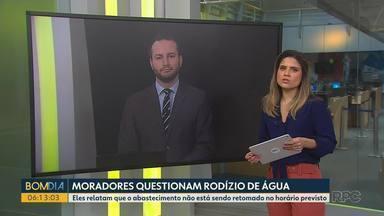 Moradores questionam o rodízio de água, em Curitiba - Eles relatam que o abastecimento não está sendo retomado no horário previsto.