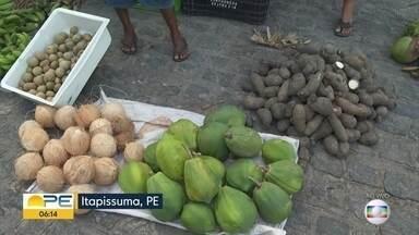 Produtos da agricultura familiar vendidos na feira de Itapissuma - A feira dos agricultores é toda quarta-feira