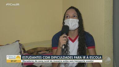 Estudantes do Distrito de Maniçoba, em Juazeiro, reclamam da falta de transporte escolar - Recurso é obrigatório para alunos da região.