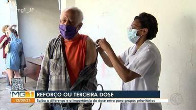 Covid-19: imunologista em Juiz de Fora mostra diferença entre vacina de reforço e 3ª dose - Idosos participam da nova etapa de imunização na cidade a partir desta segunda-feira (13). Veja como é feito.