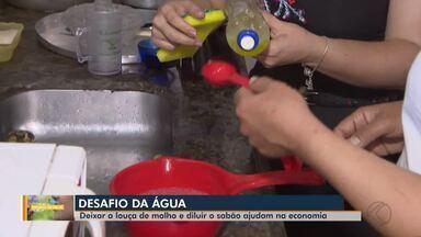 Série Desafio da água: diluir detergente ajuda a economizar na hora de lavar a louça - Veja dicas importantes para o dia a dia, como deixar a louça de molho e diluir o sabão em água, por exemplo.