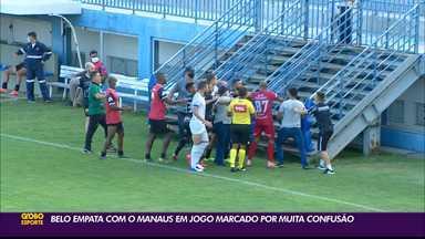 Botafogo-PB e Manaus empatam em confronto marcado por polêmicas antes e depois da partida - Duelo aconteceu no Estádio da Colina, na capital amazonense