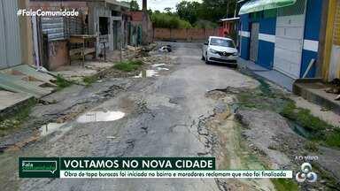 Fala Comunidade: moradores do Nova Cidade reclamam de obra não finalizada - Obra de 'tapa buracos' foi iniciada e moradores reclamam que não foi finalizada.