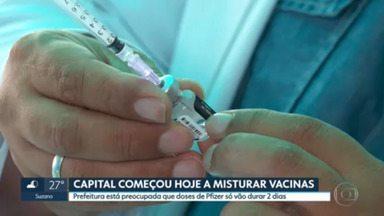 Capital paulista começou a misturar vacinas hoje, mas estoque de Pfizer em substituição a AstraZeneca só vai durar 2 dias - Prefeitura de SP diz espera receber doses de Astrazeneca do Ministério da Saúde nos próximos dias.