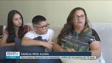 Família pede ajuda para tratamento de garoto de 10 anos que sofre com um tumor no cérebro - O único tratamento para Victor é radioterapia, que só pode ser realizada em São Paulo.