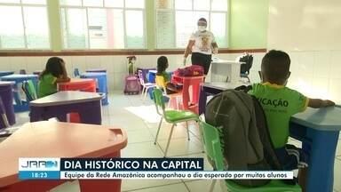 Alunos em Boa Vista retornam as salas de aula na rede municipal de ensino - Aulas presenciais estavam suspensas há um ano e cinco meses devido a pandemia do coronavírus.