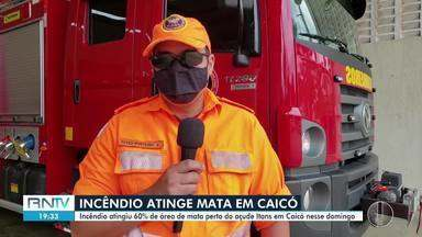 Incêndio atinge 60% de área de mata próximo ao açude Itans em Caicó - Incêndio atinge 60% de área de mata próximo ao açude Itans em Caicó