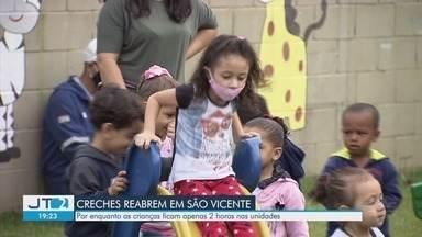 Creches de São Vicente voltam a receber crianças após 17 meses fechadas - Até o momento, 70% das unidades voltaram a funcionar apenas duas horas por dia.
