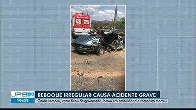 Reboque irregular causa morte de motorista na Paraíba - Carro rebocado ficou desgovernado e bateu em ambulância.
