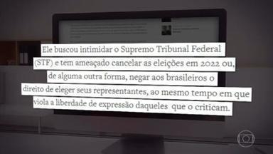 Bolsonaro 'está ameaçando os pilares da democracia brasileira', afirma Human Rights Watch - Na noite desta terça-feira (14), a ONG Human Rights Watch divulgou um documento alertando para o que chamou de ataques reiterados e sistemáticos do presidente Jair Bolsonaro aos pilares da democracia.