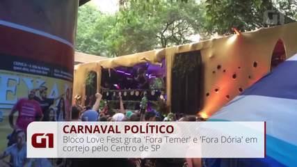 Bloco Love Fest grita 'Fora Temer' e 'Fora Dória' em cortejo pelo Centro de SP