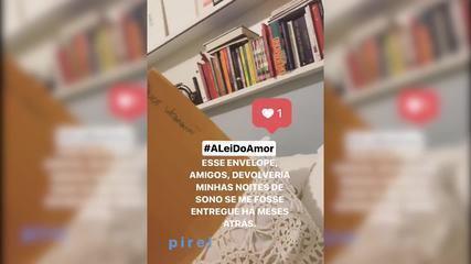 Alice Wegmann mostra envelope com cenas sigilosas de Marina em 'A Lei do Amor'
