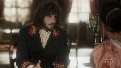 Joaquim conta a Diara sobre suas suspeitas contra Thomas
