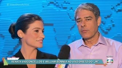 William Bonner e Renata Vasconcellos se preparam para a estreia do novo 'Jornal Nacional'