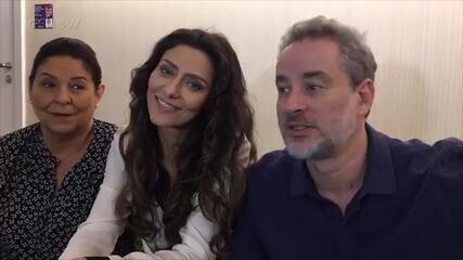 Dan Stulbach, com Cláudia Mello e Maria Fernanda Cândido, nos bastidores de 'A Força do Querer'