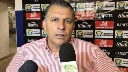 Zé Humberto reclama dos erros de passe do Atlético-ES na ida da final da Copa ES