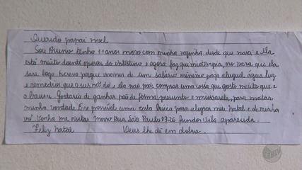 Menino de 11 anos pede pão de forma, presunto e muçarela em carta ao Papai Noel