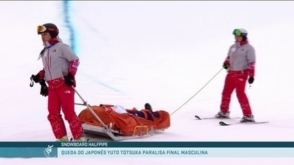 Japonês, Yuto Totsuka leva tombo feio e deixa a pista de maca no Halfpipe em PyeongChang