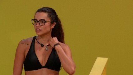 Paula incentiva Jéssica, sua dupla na Prova do Líder Moderninha Pro