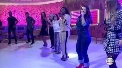 Rouge canta 'Ragatanga', e Fátima Bernardes dança com o grupo
