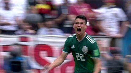 Gol do México! Em contra-ataque veloz, Lozano abre o placar, aos 34` do 1º tempo