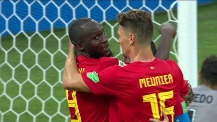 Gol da Bélgica! De Bruyne faz ótimo cruzamento para Lukaku ampliar de cabeça aos 23 do 12º
