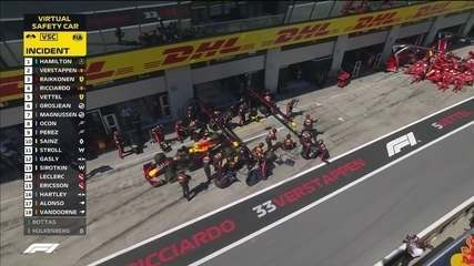 RBRs e Ferraris fazem pit stop com safety car e pegam Hamilton no contrapé