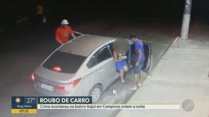 Câmeras flagram momento em que carro é roubado em Campinas