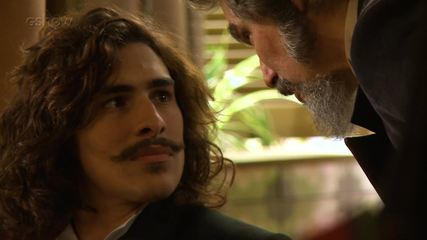 Confira os bastidores da cena em que Bento reencontra Marocas e Dom Sabino