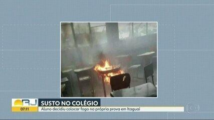 Aluno coloca fogo na própria prova em escola de Itaguaí