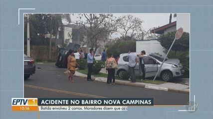 Veículo tomba após colisão com carro em cruzamento de avenida em Campinas