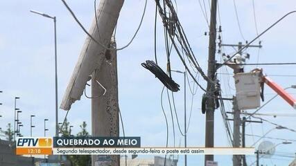 Moradores reclamam de poste quebrado ao meio em Sumaré