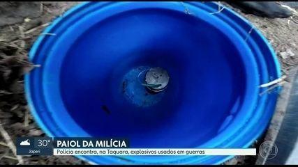 Polícia encontra explosivos usados em campos minados durante guerras em favela da Taquara