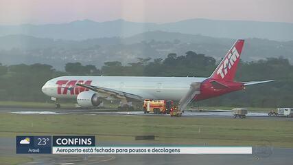 Pista de Confins fecha e 116 voos são afetados