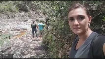 Graziela Fávaro fala direto da Cachoeira do Zé Pereira, em São João Batista do Glória