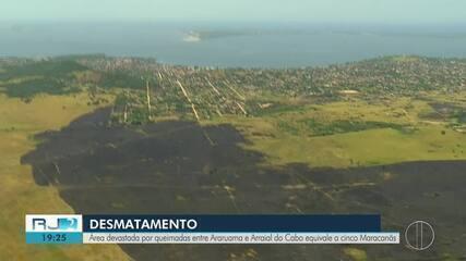 Área devastada por queimadas entre Araruama e Arraial do Cabo equivale a 5 Maracanãs