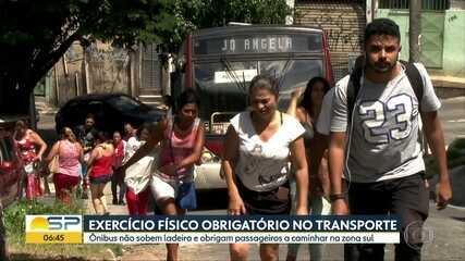 Ônibus sem força para subir ladeira deixa passageiros na mão em SP
