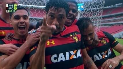 Muita festa para comemorar o segundo gol de Hernane contra o América