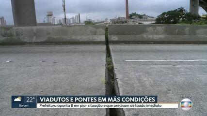 Prefeitura aponta oito pontes e viadutos em pior situação e que precisam de laudo imediato
