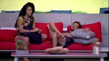 Diego diz para Elana sobre punição: 'Acordei com muita vergonha'