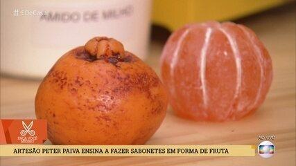Artesão mostra como fazer sabonetes em forma de tangerina