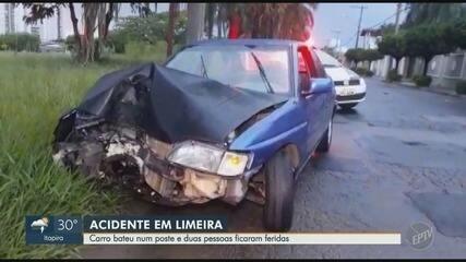Carro bate em poste e deixa dois feridos em Limeira