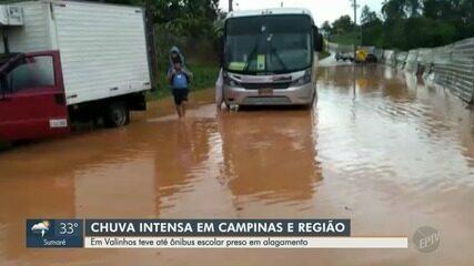 Chuva provoca alagamentos na região de Campinas
