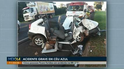 Cinco feridos em acidente na BR-277, em Céu Azul