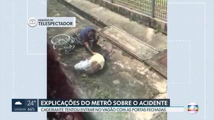 Cadeirante cai do metrô e sofre traumatismo craniano
