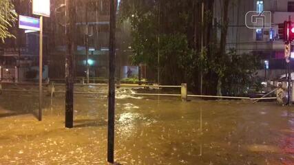 Chuva alaga Avenida Maracanã com Rua José Higino na Tijuca