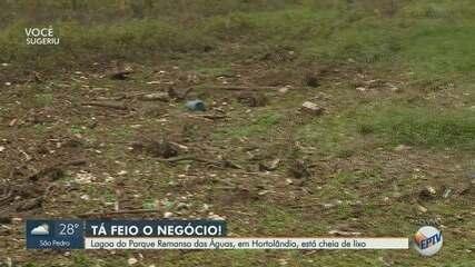 Lagoa do parque Remanso das Águas, em Hortolândia, está cheia de lixo