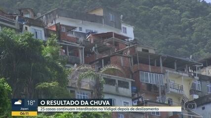 Após chuvas, 25 casas continuam com risco de deslizamento no Vidigal
