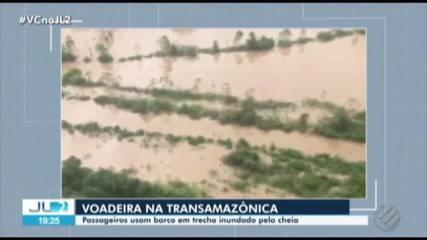 Trecho da rod. Transamazônia continua inundado após cheia no rio Uruará