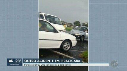 Acidente entre dois carros e van deixa um ferido em Piracicaba